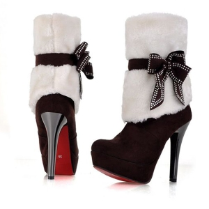 Velvet Faux Fur Platform Bow Winter Boots