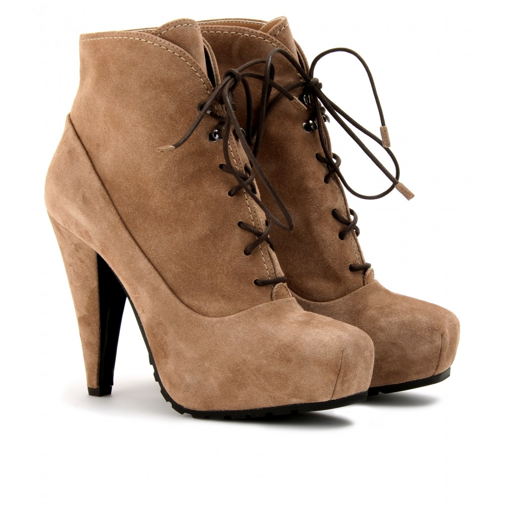Tan Lace Up Boots With Heel - Is Heel