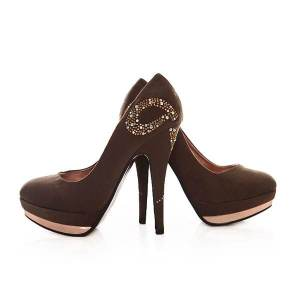 Fashion Fabric Rhinestone Platform Heels